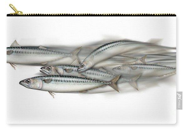 Mackerel School Of Fish - Scomber - Nautical Art - Seafood Art - Marine Art -game Fish Carry-all Pouch