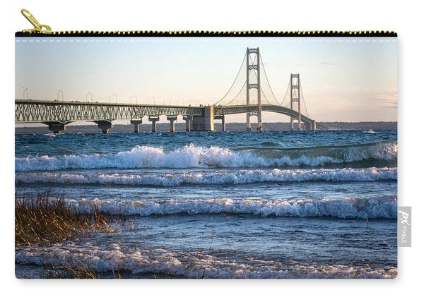 Carry-all Pouch featuring the photograph Mackinac Bridge Michigan by Mary Lee Dereske