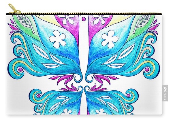 Magic Floral Butterfly Baby Blue Carry-all Pouch
