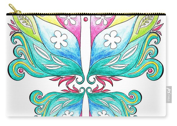 Magic Floral Butterfly Baby Pink Carry-all Pouch