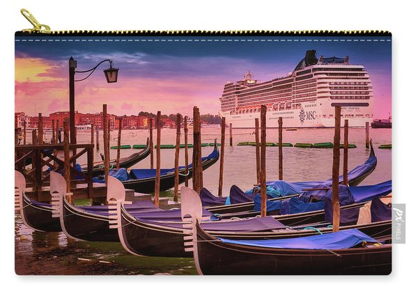Gondolas And Cityscape At Sunset In Venice, Italy Carry-all Pouch