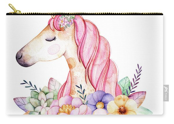 Magical Watercolor Unicorn Carry-all Pouch
