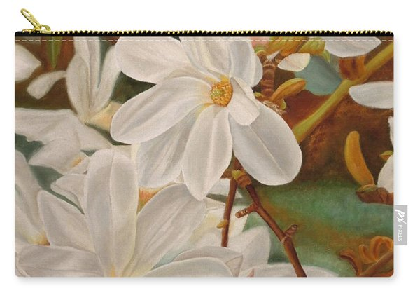 Carry-all Pouch featuring the painting Magnolias by Angeles M Pomata