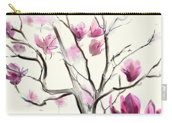 Carry-all Pouch featuring the digital art Magnolias In Bloom by Gina Harrison