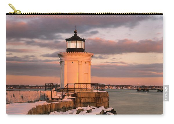 Carry-all Pouch featuring the photograph Maine Bug Light Lighthouse Snow At Sunset by Ranjay Mitra