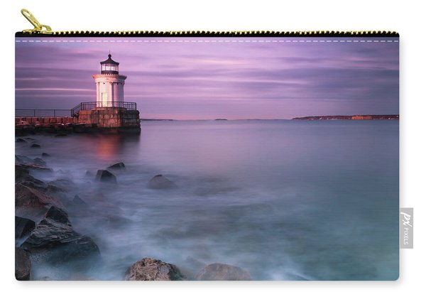 Carry-all Pouch featuring the photograph Maine Bug Light Lighthouse Sunset by Ranjay Mitra