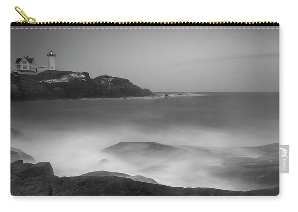 Carry-all Pouch featuring the photograph Maine Cape Neddick Lighthouse And Rocky Coastal Waves Bw by Ranjay Mitra