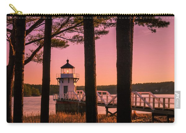 Carry-all Pouch featuring the photograph Maine Doubling Point Lighthouse At Sunset Panorama by Ranjay Mitra