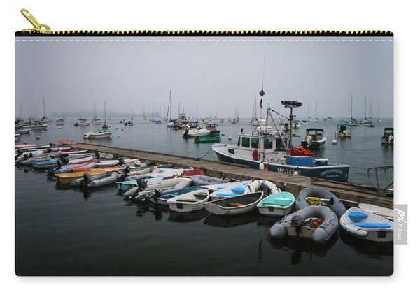 Carry-all Pouch featuring the photograph Maine Falmouth Boat Landing On Misty Morning Panorama by Ranjay Mitra