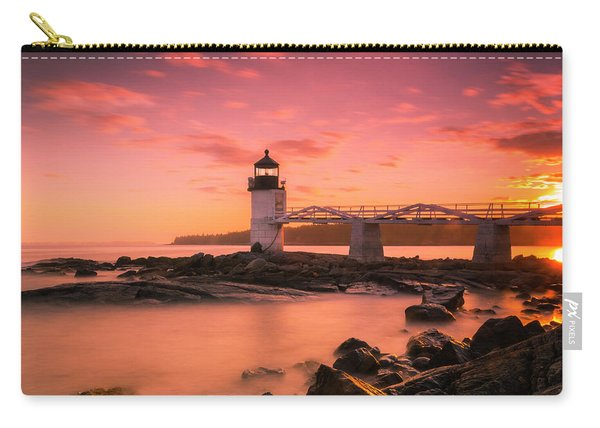 Carry-all Pouch featuring the photograph Maine Lighthouse Marshall Point At Sunset by Ranjay Mitra