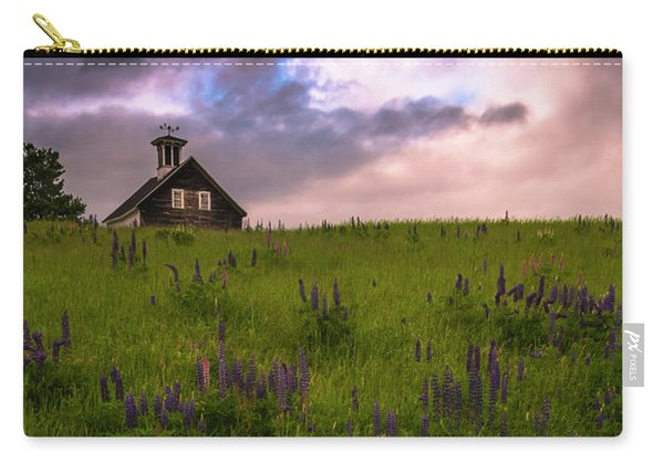 Carry-all Pouch featuring the photograph Maine Lupines And Home After Rain And Storm by Ranjay Mitra