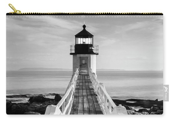 Carry-all Pouch featuring the photograph Maine Marshall Point Lighthouse Vertical Panorama In Black And White by Ranjay Mitra