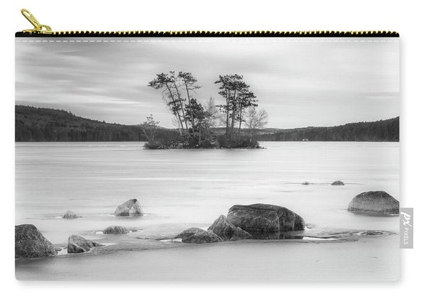 Carry-all Pouch featuring the photograph Maine Moose Pond In Winter Filled With Snow And Ice Panorama by Ranjay Mitra