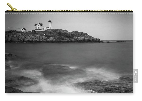 Maine Nubble Lighthouse And Rocky Shores In Bw Carry-all Pouch