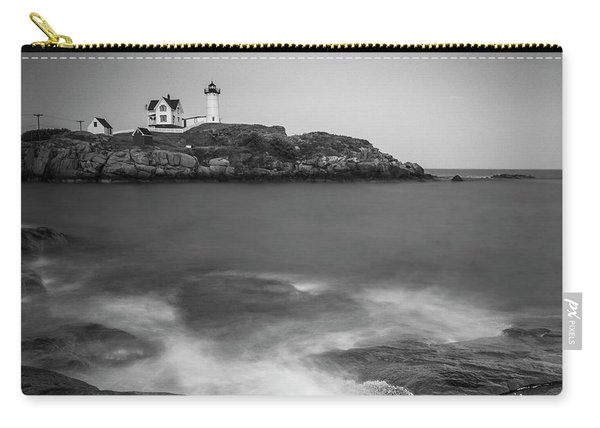 Carry-all Pouch featuring the photograph Maine Nubble Lighthouse And Rocky Shores In Bw by Ranjay Mitra
