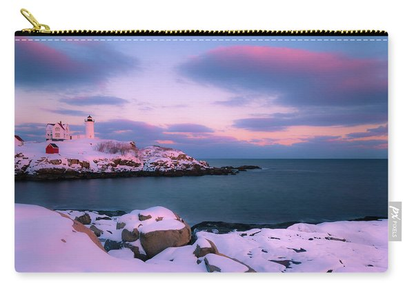 Carry-all Pouch featuring the photograph Maine Nubble Lighthouse In Winter Blue Hour by Ranjay Mitra
