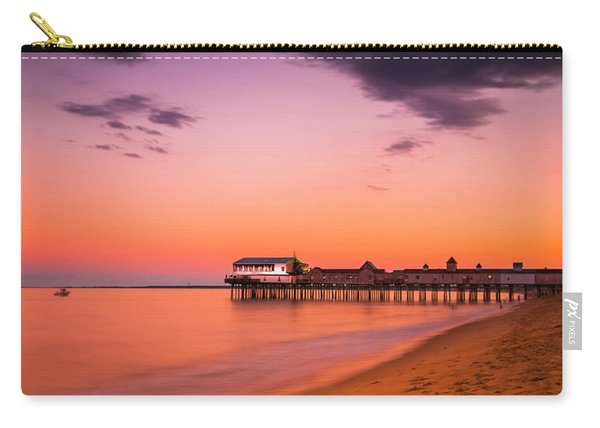 Carry-all Pouch featuring the photograph Maine Old Orchard Beach Pier At Sunset by Ranjay Mitra