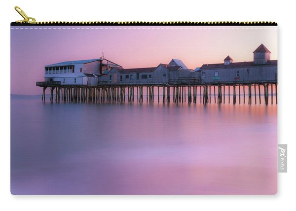 Carry-all Pouch featuring the photograph Maine Oob Pier At Sunset Panorama by Ranjay Mitra