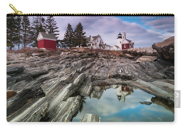 Carry-all Pouch featuring the photograph Maine Pemaquid Lighthouse Reflection by Ranjay Mitra