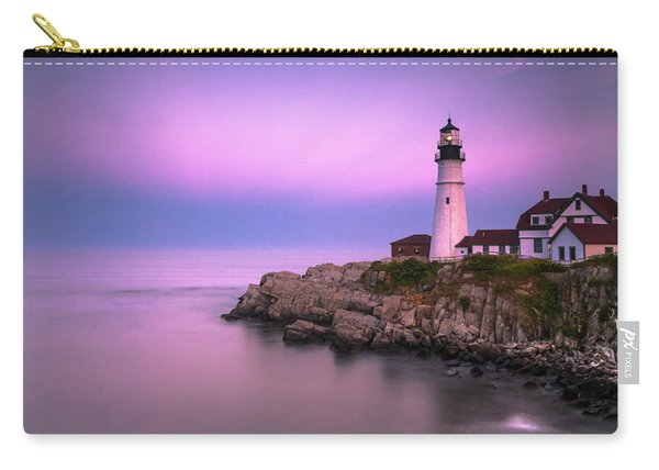 Carry-all Pouch featuring the photograph Maine Portland Headlight Blue Hour Panorama by Ranjay Mitra