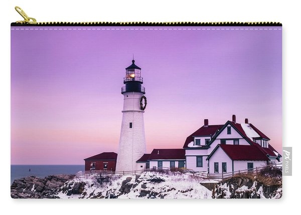 Maine Portland Headlight Lighthouse At Sunset In Winter With Snow Carry-all Pouch
