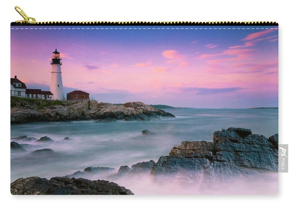 Carry-all Pouch featuring the photograph Maine Portland Headlight Lighthouse At Sunset Panorama by Ranjay Mitra