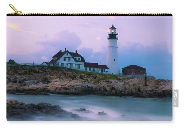 Carry-all Pouch featuring the photograph Maine Portland Headlight Lighthouse In Blue Hour by Ranjay Mitra