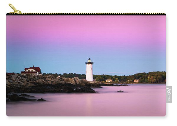 Carry-all Pouch featuring the photograph Maine Portsmouth Naval Base Lighthouse At Sunset Panorama by Ranjay Mitra