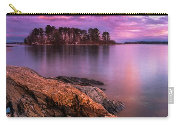 Carry-all Pouch featuring the photograph Maine Pound Of Tea Island Sunset At Freeport by Ranjay Mitra