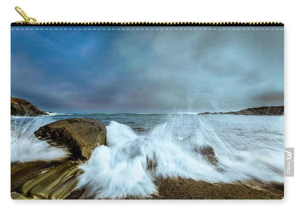 Carry-all Pouch featuring the photograph Maine Rocky Coast During Storm At Two Lights by Ranjay Mitra