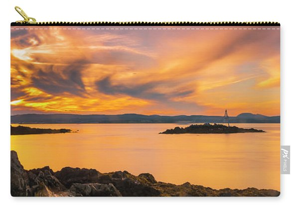 Carry-all Pouch featuring the photograph Maine Rocky Coastal Sunset In Penobscot Bay Panorama by Ranjay Mitra