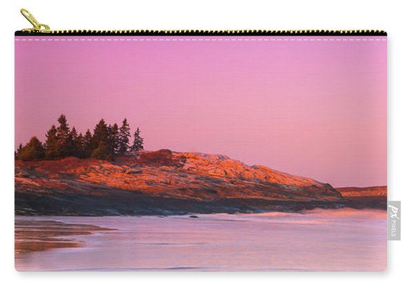 Carry-all Pouch featuring the photograph Maine Sheepscot River Bay With Cuckolds Lighthouse Sunset Panorama by Ranjay Mitra