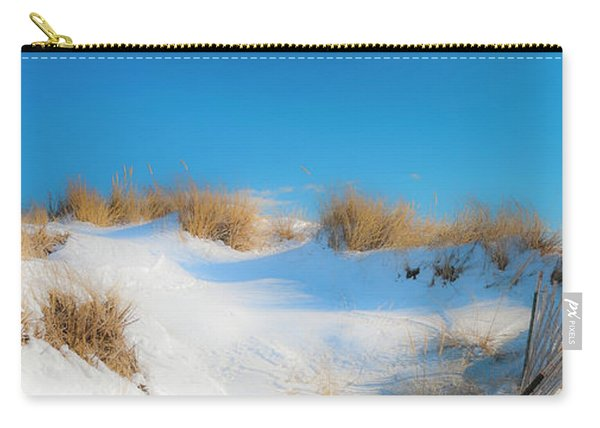 Maine Snow Dunes On Coast In Winter Panorama Carry-all Pouch