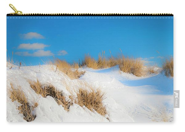 Carry-all Pouch featuring the photograph Maine Snow Dunes On Coast In Winter Panorama by Ranjay Mitra