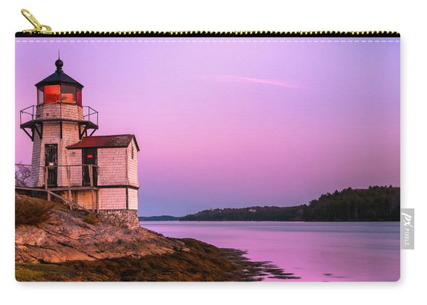 Carry-all Pouch featuring the photograph Maine Squirrel Point Lighthouse On Kennebec River Sunset Panorama by Ranjay Mitra