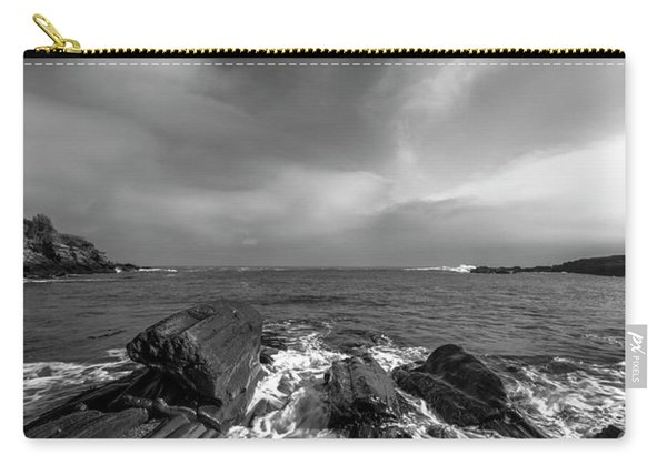 Carry-all Pouch featuring the photograph Maine Storm Clouds And Crashing Waves On Rocky Coast by Ranjay Mitra