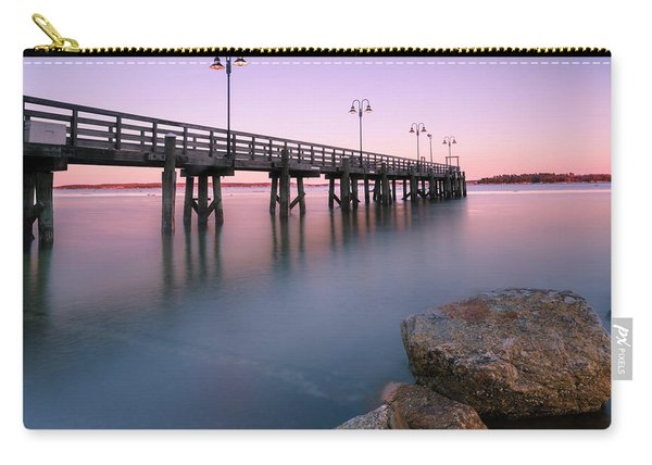 Maine Sunset Over Yarmouth Fishing Pier And Boat Landing Carry-all Pouch