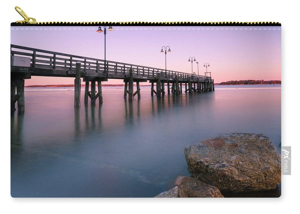 Carry-all Pouch featuring the photograph Maine Sunset Over Yarmouth Fishing Pier And Boat Landing by Ranjay Mitra