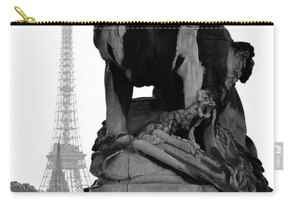 Majestic Lion Statue Near Pont Alexandre IIi With Eiffel Tower Background Paris Black And White Carry-all Pouch