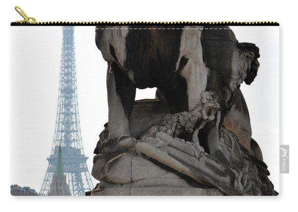 Majestic Lion Statue Near Pont Alexandre IIi With Eiffel Tower Background Paris France Carry-all Pouch
