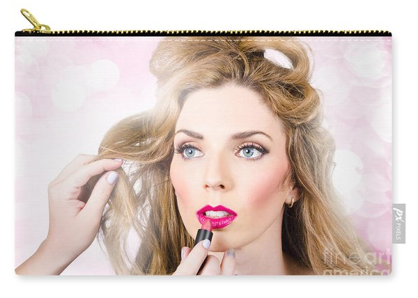 Makeup Artist Applying Lipstick On Beauty Model Carry-all Pouch