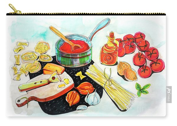 Carry-all Pouch featuring the drawing making Italian tomato's sauce by Ariadna De Raadt