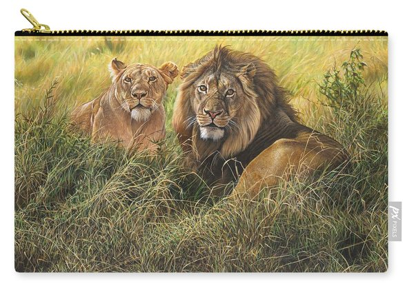 Carry-all Pouch featuring the painting Male And Female Lion by Alan M Hunt
