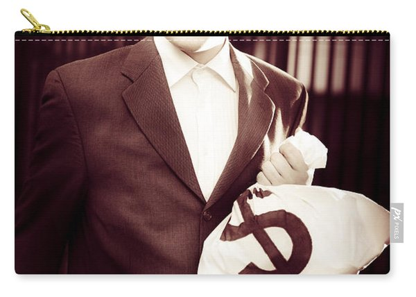 Male Banker Holding Dollar Sign Money Bags Carry-all Pouch