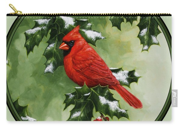Male Cardinal And Holly Phone Case Carry-all Pouch