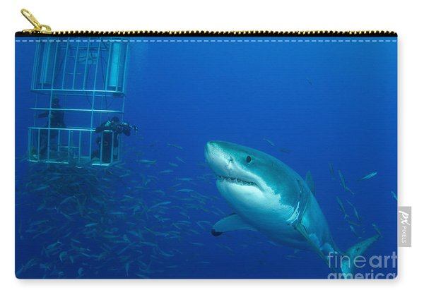 Male Great White Shark And Divers Carry-all Pouch