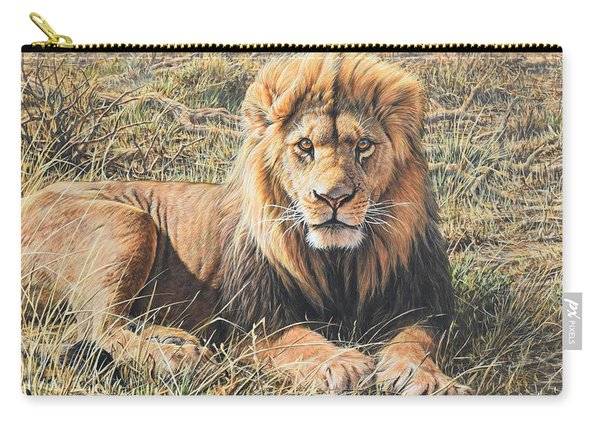 Carry-all Pouch featuring the painting Male Lion Portrait by Alan M Hunt