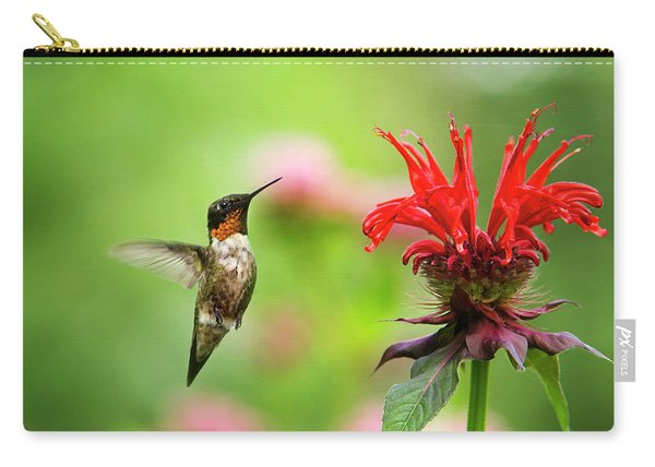 Male Ruby-throated Hummingbird Hovering Near Flowers Carry-all Pouch
