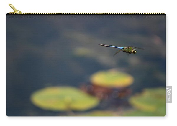 Malibu Blue Dragonfly Flying Over Lotus Pond Carry-all Pouch