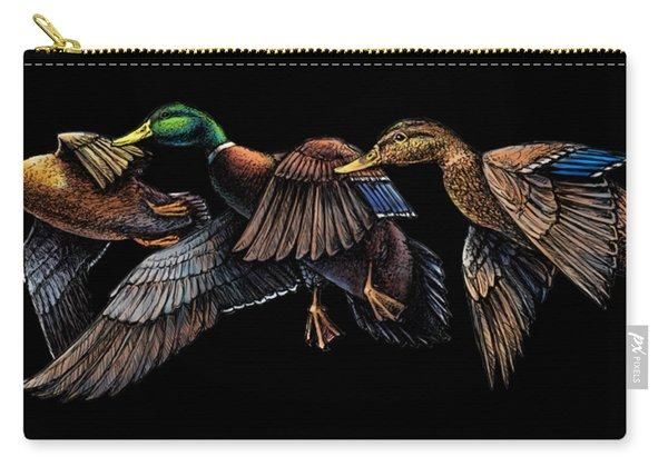 Mallard Ducks In Flight Carry-all Pouch